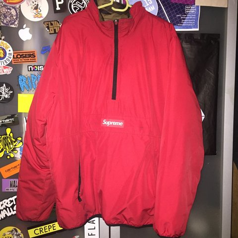 9789007a5f93 Supreme reversible goose down red   camo bought last year a - Depop