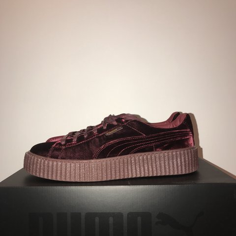 dd647682a8a838 Puma velvet creepers by Rihanna in maroon. Only worn once in - Depop