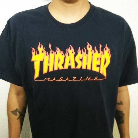 bf3ddc706db4 🔥Thrasher Magazine Flame Logo Shirt Size XL In very good - Depop
