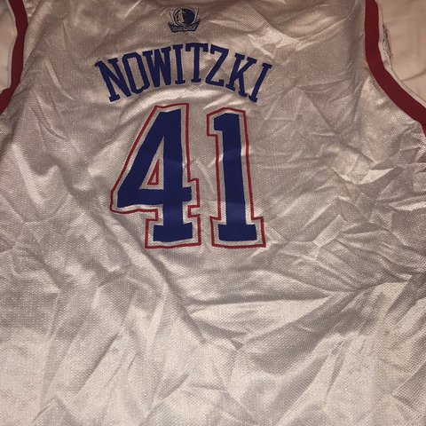 14470bc1f 2004 Dirk Nowitzki all star jersey it looks wrinkled up in I - Depop
