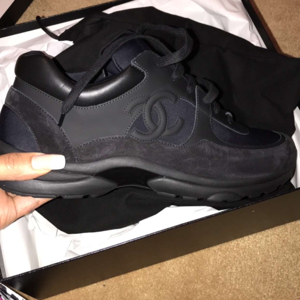 AUTHENTIC all black Chanel trainers