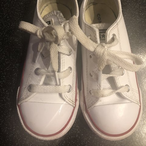 0b87a8f3c0b3 Kids white leather converse UK size 10. Comes with original - Depop
