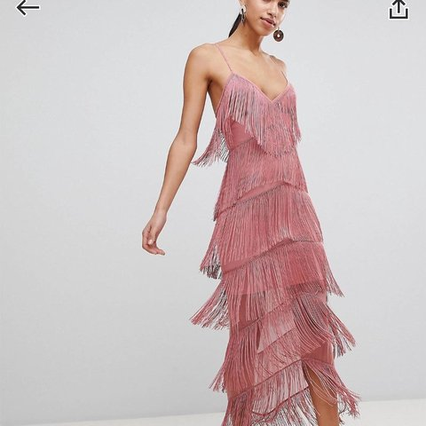 Beautiful pink fringe dress from Asos Size 6 Worn once for - Depop 1be7c9f85e