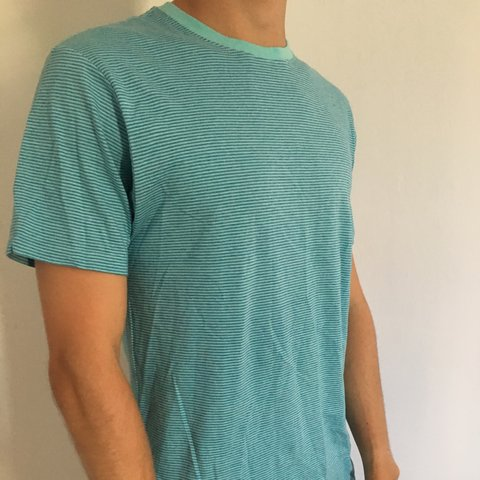 d40a2ef1 🌞✨✨ PATAGONIA men's small turquoise striped daily tee slim - Depop
