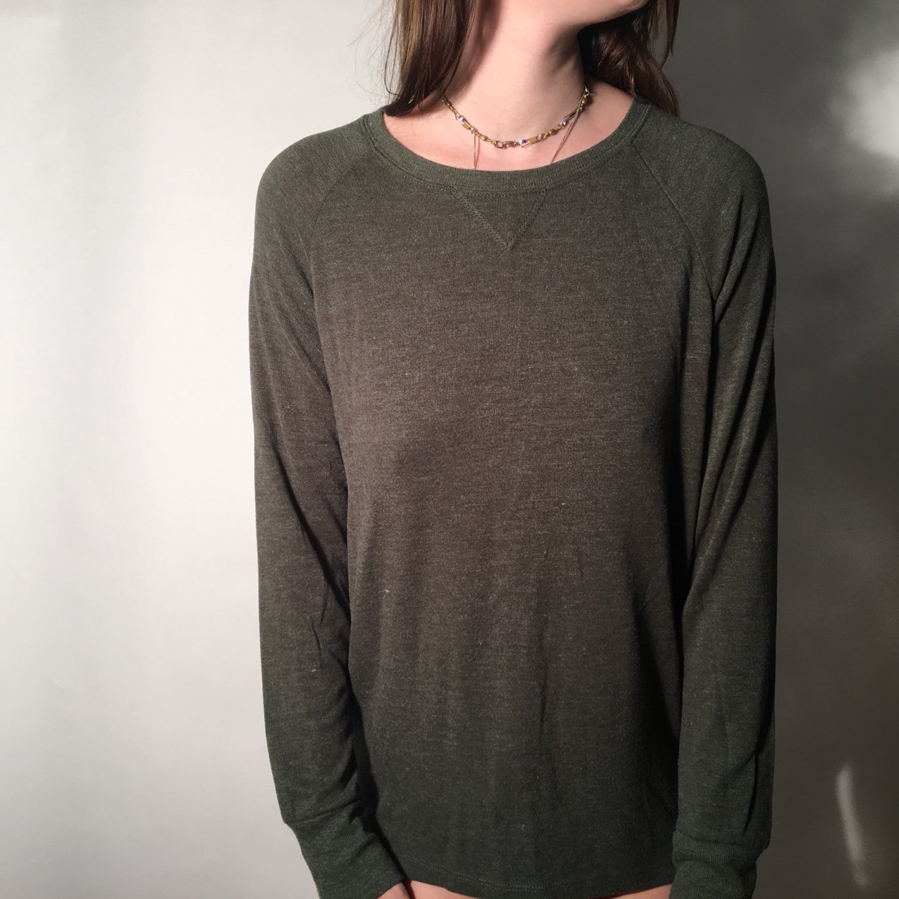BRANDY MELVILLE olive green pullover 59a7d56f3