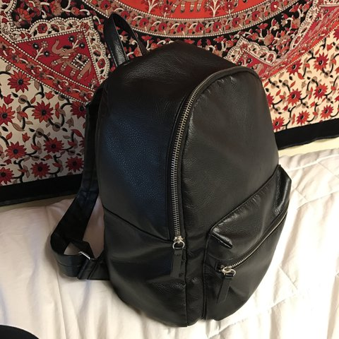 fbd665824714 H M faux leather backpack. Has one small hole from previous - Depop