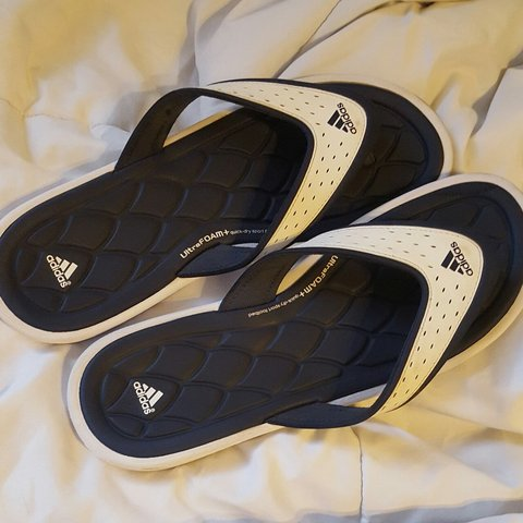 0d2c79829 Blue and White Adidas Flip Flops Great condition