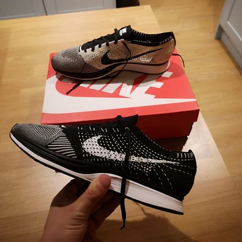 e4be506c0859 Nike Flyknit Racer Black White Size 10 9 10 condition