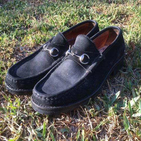 2b2d850a7252 All black leather Gucci loafers in great shape. Only problem - Depop