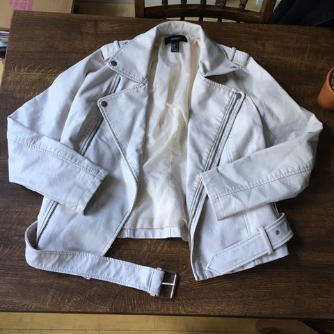 382ea444dacf Forever 21 off white faux leather jacket with silver and - a - Depop