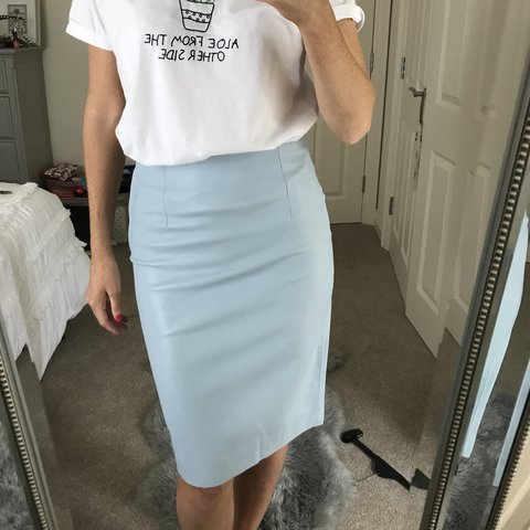 d3d1140eba @e2campbell. 9 months ago. Cookstown, United Kingdom. ZARA BLUE FAUX LEATHER  PENCIL SKIRT • baby/ ...