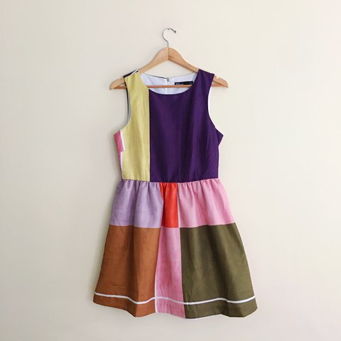 a0947c23cf2b dear creatures color block fit & flare dress, purchased from - Depop