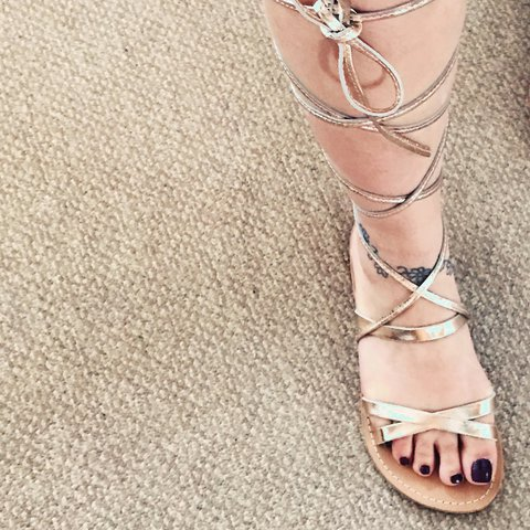 90e5aed6dadb ASOS gold gladiator lace up sandals size 5