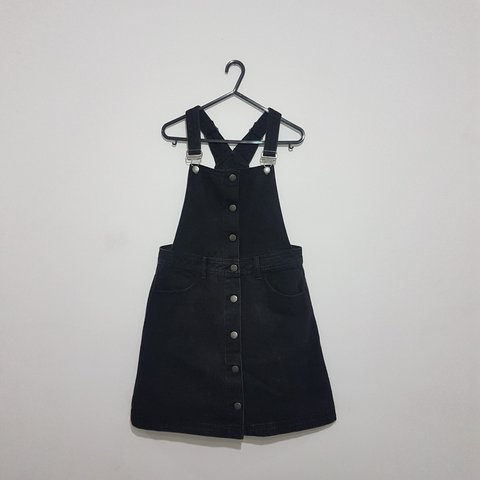 35c3a2c955d1 Black denim dungaree dress. Size 10 brought from New Look. I - Depop