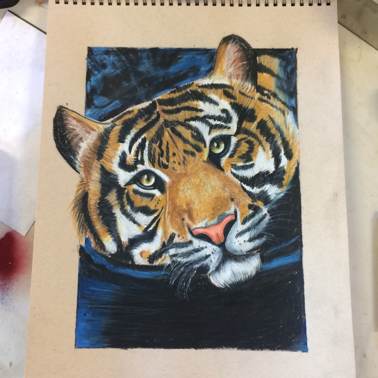 Tiger colored pencil drawing this is an art piece depop