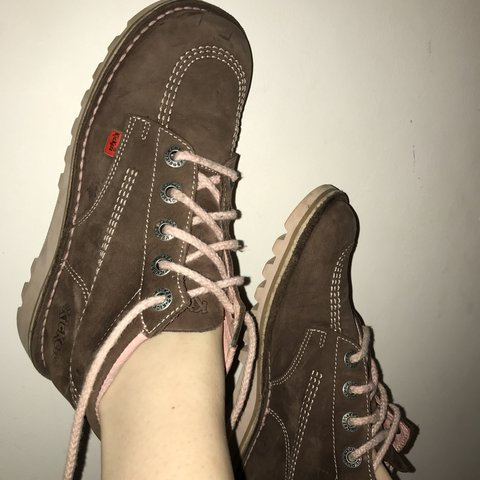 e1d9531d47493 @narras. last year. Longfield, United Kingdom. Chocolate brown #kickers  size 5 with pink ...