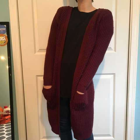 9e76e3c35911 Maroon long knit cardigan. Amazingly cozy!!  cardigan - Depop