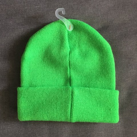 a4883b48f1946 Neon lime green beanie 💚 the perfect pop of color for your - Depop