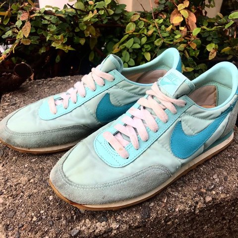 c609c40369e VINTAGE 80 S NIKE WAFFLE TRAINERS. BABY BLUE NYLON SUEDE IN - Depop