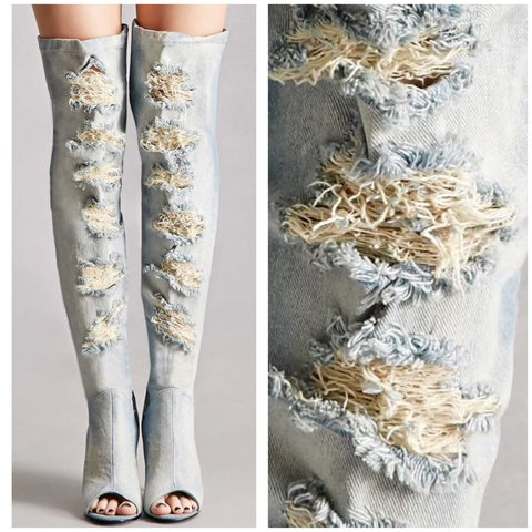 921324009 Privileged Darling Distressed Denim Thigh-High Boots cuz yr - Depop