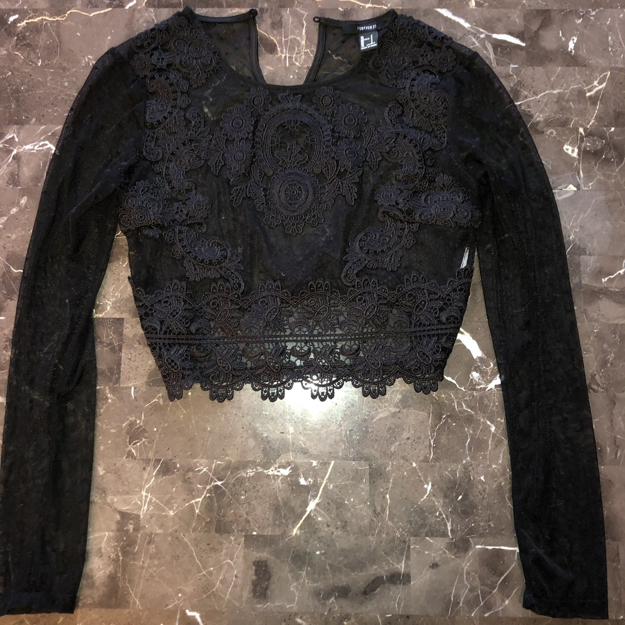 63fe928483687d black cropped sheer mesh   lace top suuuuuper sexy looks sz - Depop