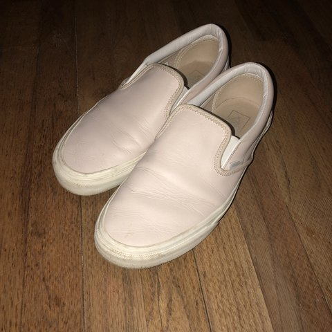 Vans leather slip ons Light pink off white Mens US in toe - Depop 15d48a73f