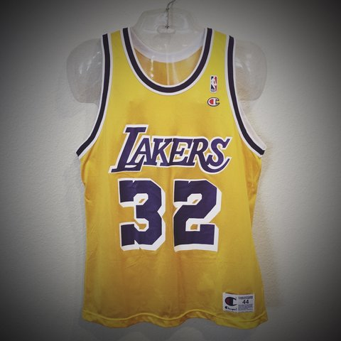 5c40cda3c3a @hardestbuttoncollective. 3 years ago. San Diego, CA, USA. Los Angeles  Lakers Vintage Magic Johnson Champion NBA Basketball Jersey ...