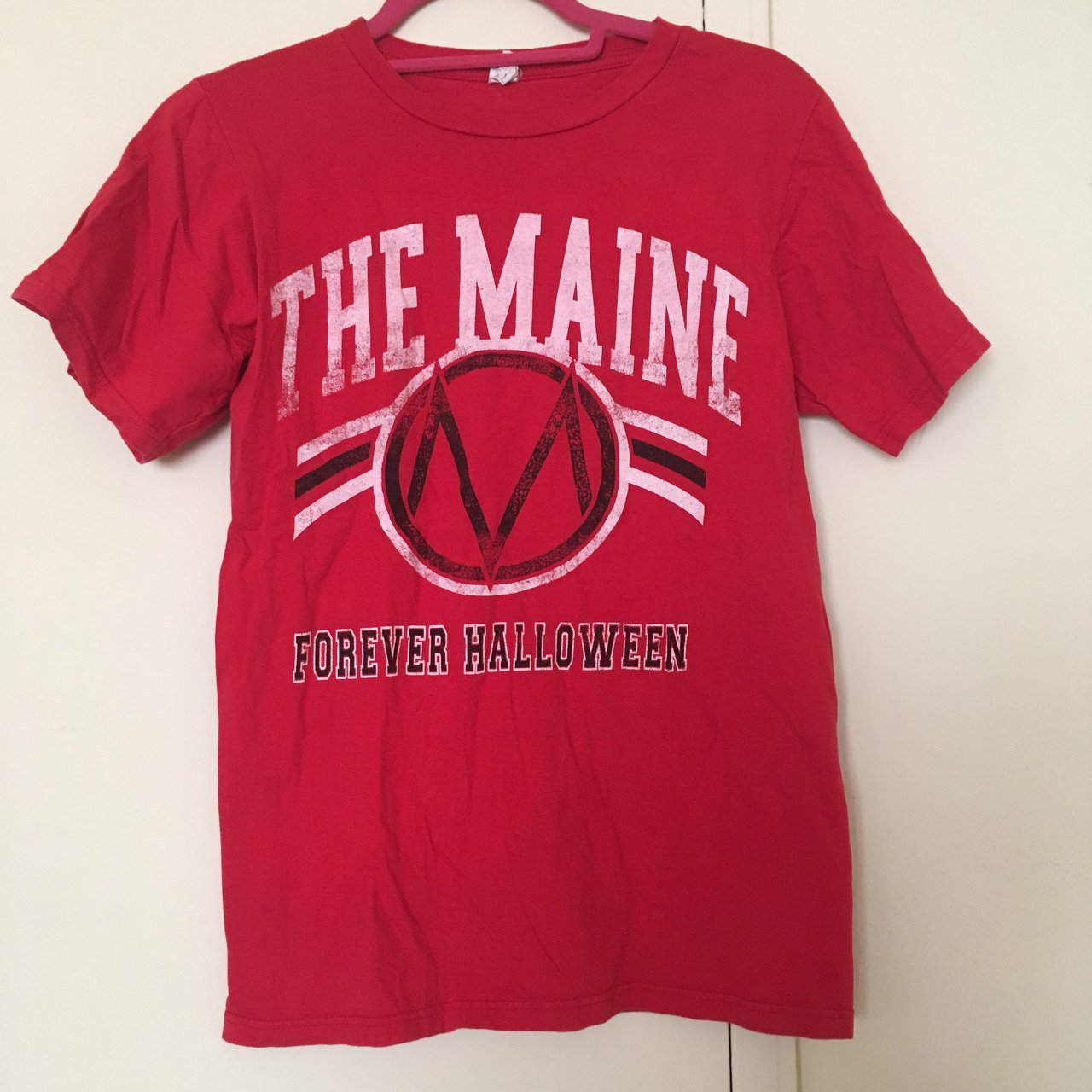 the maine 'forever halloween' t-shirt in red probably worn - depop
