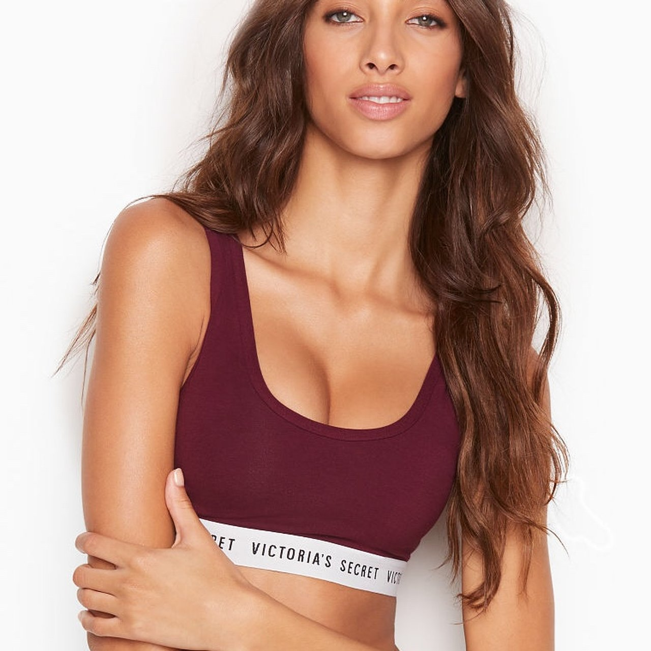d8d1b88fb99f7 Victoria s Secret Logo Scoop Bralette in Maroon I bought M - Depop
