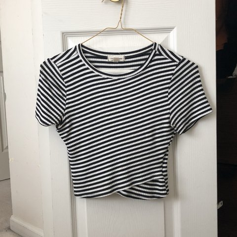 5239b3da446 black and white ribbed striped crossover crop top from urban - Depop