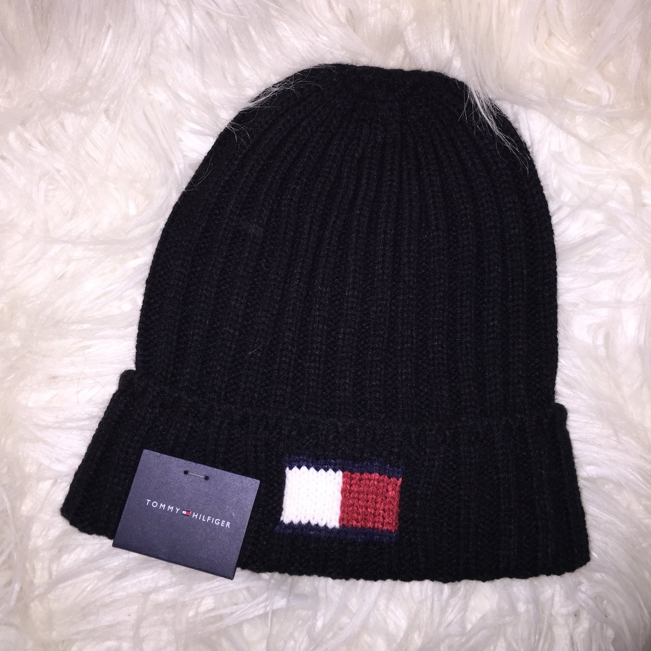 17fb66ef84e Black Tommy Hilfiger logo beanie. Never worn before and has - Depop