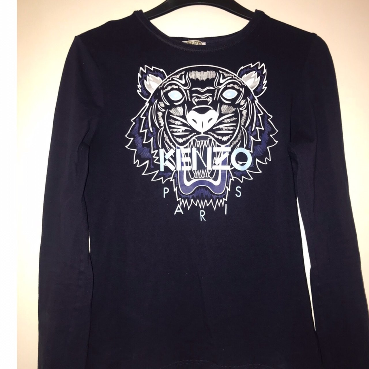 Kenzo tiger navy long sleeve top kids age 16 would fit a UK - Depop 8df1a4708