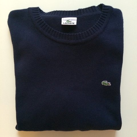 033b2e29ea Navy Lacoste knitted jumper in size 7. Crew neck sweater a - Depop