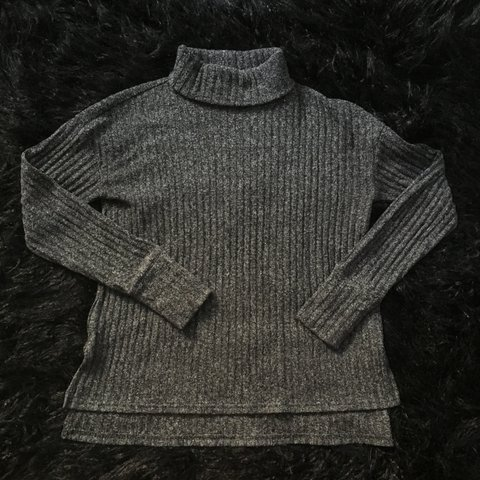 b4c5dddbcf8 Charcoal ribbed Athleta turtleneck sweater. Size S. Thumb on - Depop