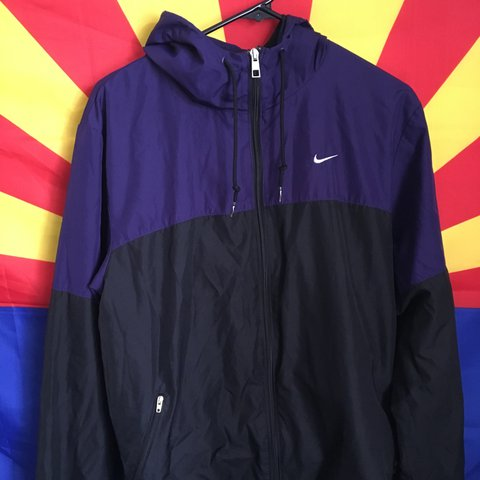347458451a Nike Two Tone Color Block Windbreaker Size Medium Top to - Depop