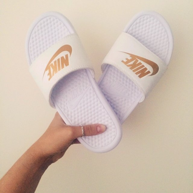 f2ef68e4699c White and gold Nike slides. Brand new size 5.    TAGS  Nike - Depop