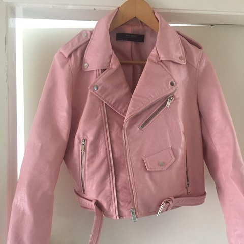 9130ed53 @charlottesarah. 3 years ago. Newcastle upon Tyne, Tyne and Wear, UK. Zara  pink faux leather jacket size L - only worn once ...