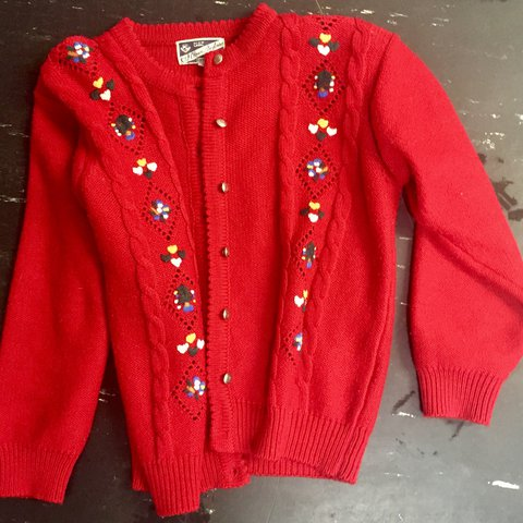 3bbe093373 Very cute 3 4 length RED cardigan with embroidered with and - Depop