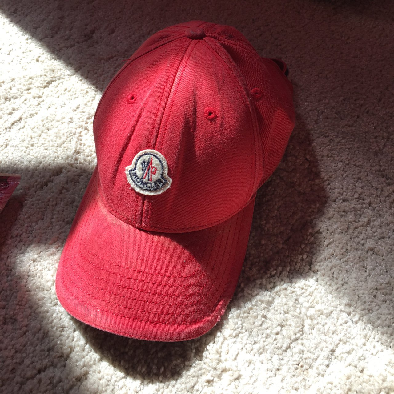 Moncler red cap. Signs of wear but still good condition. All - Depop df699b864fb