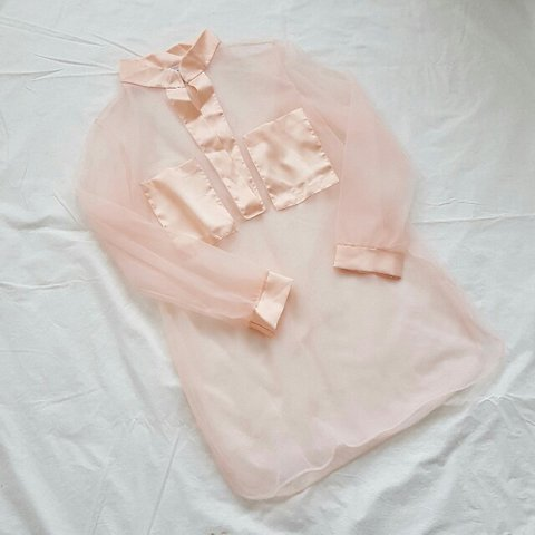 7ca0643e96e64d Very sheer blush pink vintage top with satin trim and So a - Depop