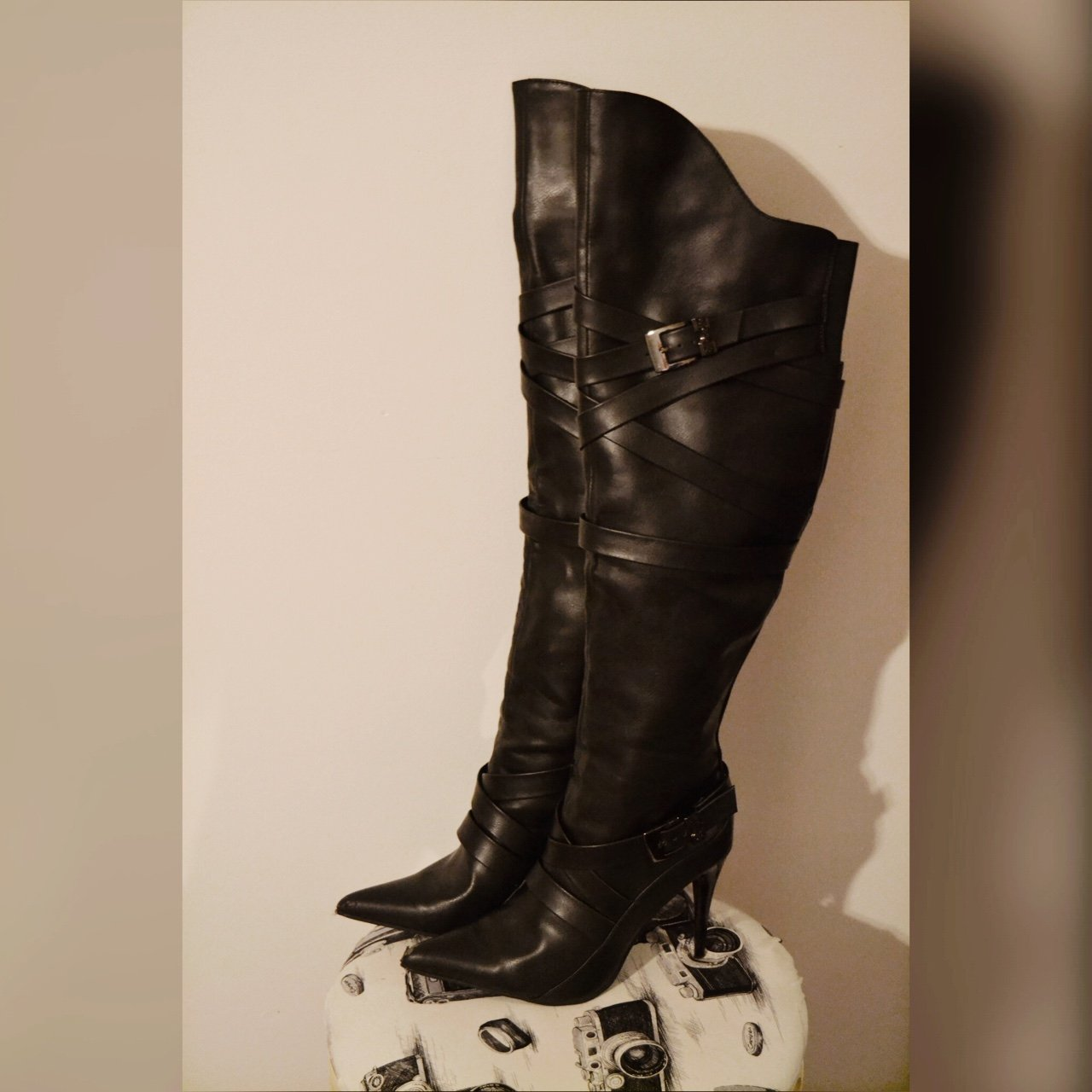 c0269244f87 Sexy knee high faux leather boots! Great to wear with skinny - Depop
