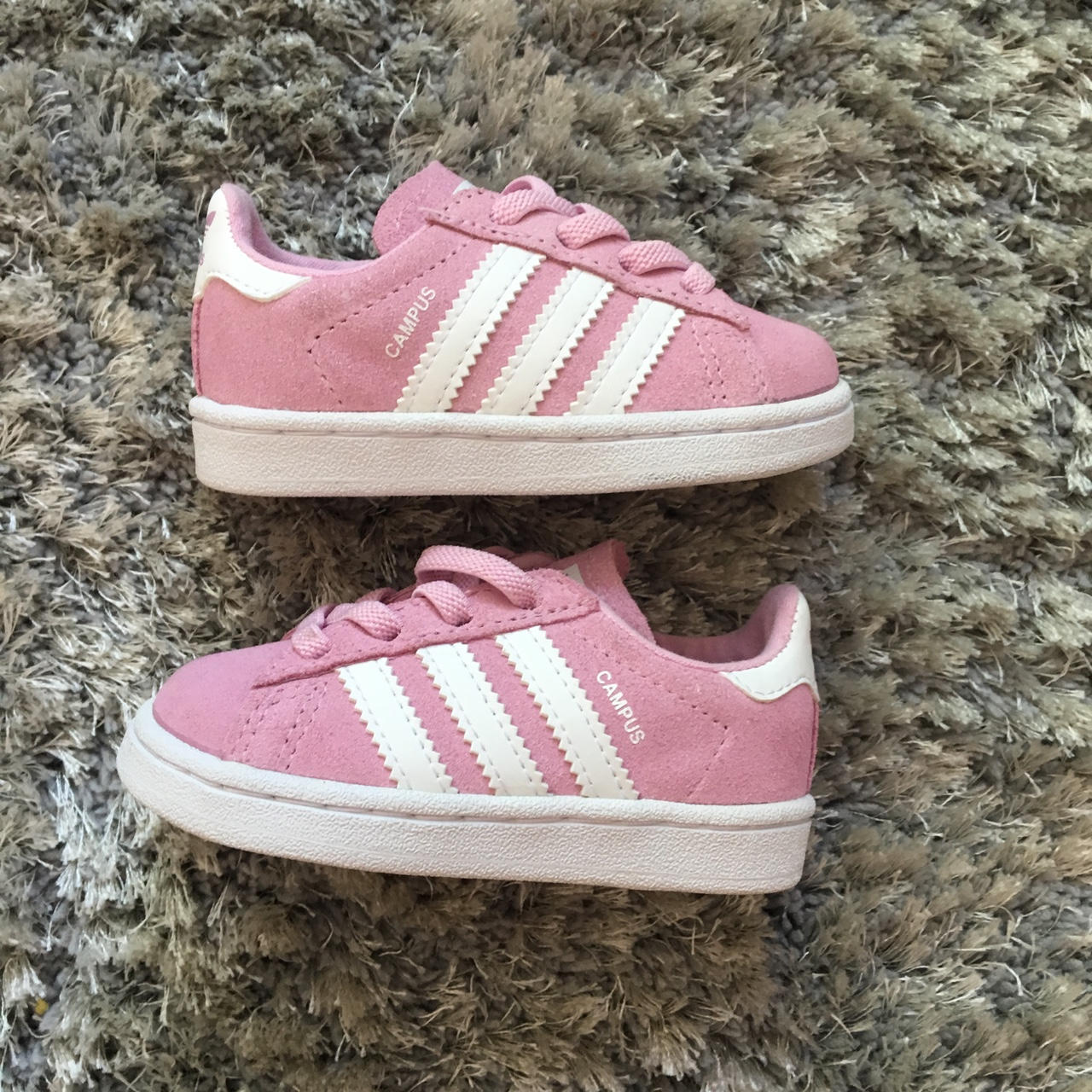 Adidas campus baby trainers, Pink and white , Size...