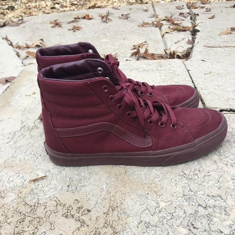 Burgundy Sk8 Hi Vans! Perfect for the fall. Great condition - Depop bf61ca763