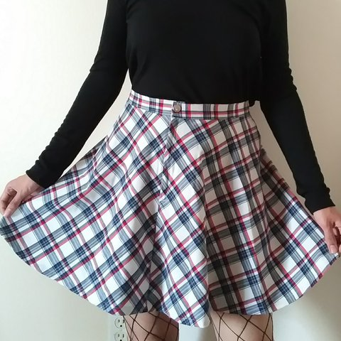 104b91a790 Classic red white and blue pleated schoolgirl skirt by plaid - Depop