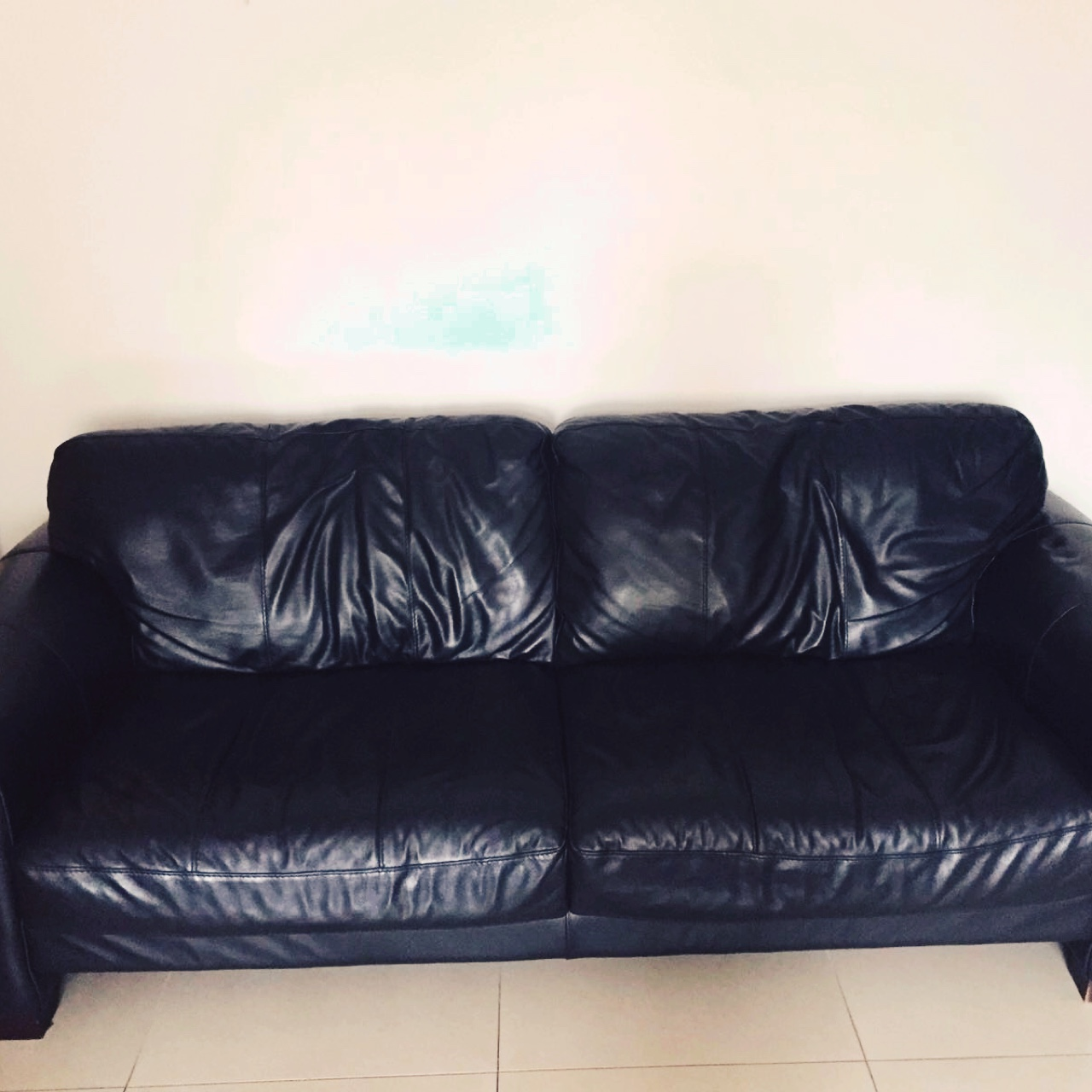 3 seater black leather sofa couch, less than 3 years... - Depop