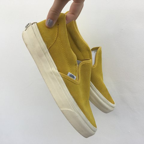 e6db871239 Vans classic slip on vintage suede sulfur yellow 💛 Size 5 A - Depop