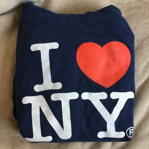 ee56ac6888d Navy blue I heart NY hoodie. Size M. Printed on fruit of the - Depop