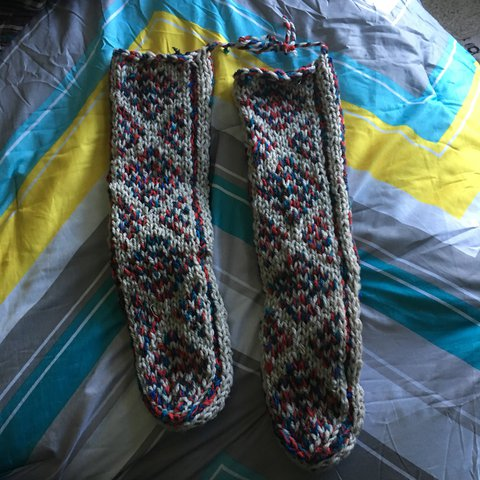 Hand Knit Mukluk Slippers Never Worn Red White And Blue On Depop