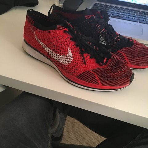 new product c5a38 0eec9  asmmith. 3 years ago. Leicester, UK. Nike flyknit racers red black ...