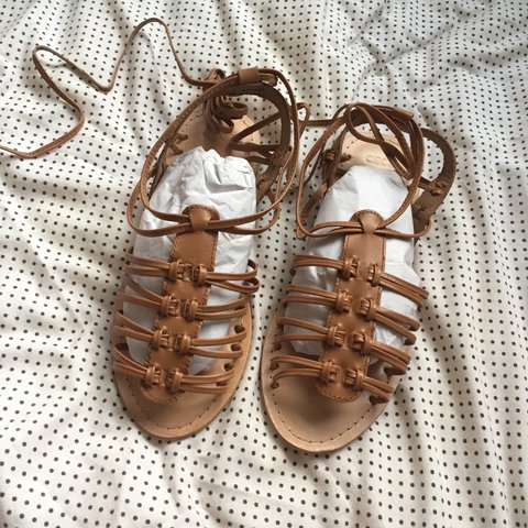 023351e50d6d Brand new brown tie up   lace up gladiator sandals in real I - Depop